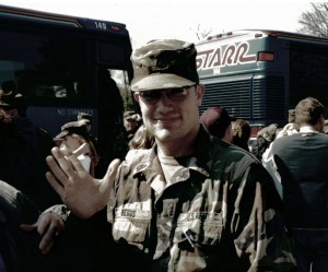 Tommy arriving home from Bosnia, they had just gotten off thebuses at their home unit here in Williamsport.