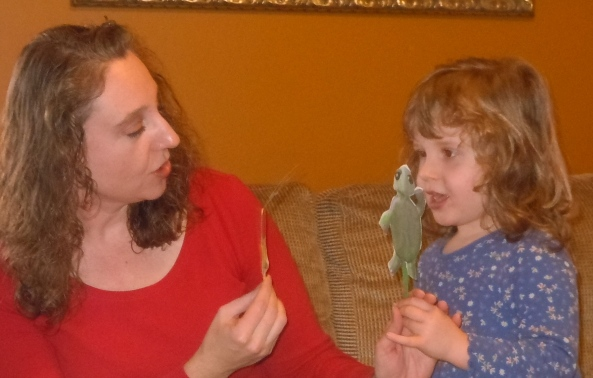 Sweet Cheeks and I using the Tortuga and Conejo puppets