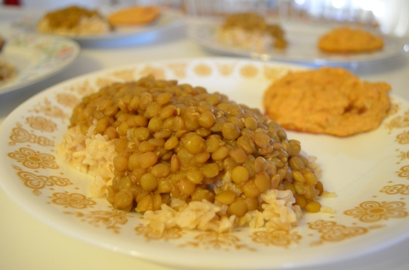 Honey Lentils and Sweet Potato Biscuits